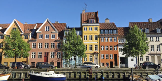 Canal of Christianshavn with colourful houses - Copenhagen, Denmark